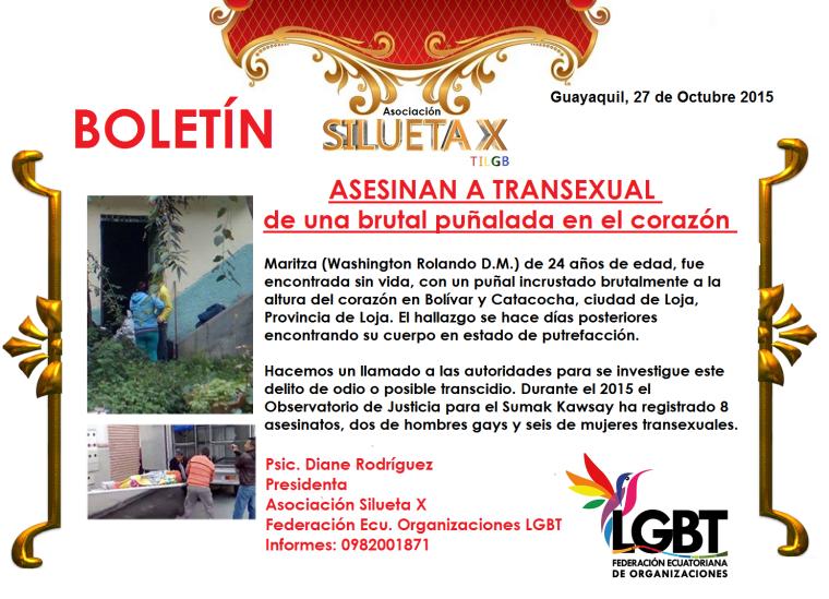 Asesinan de una brutal puñalada en el corazón a transexual - Asociación Silueta X - Federación de Organizaciones LGBT