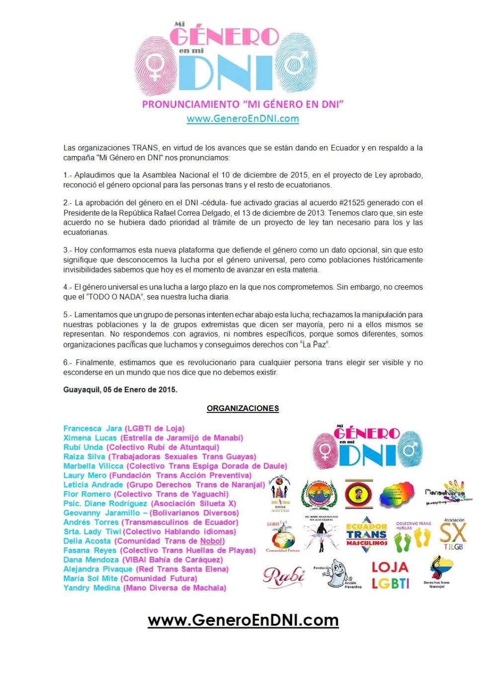 Pronunciamiento de mi genero en mi DNI Ecuador - Apoyo al Género Opcional en documento Nacional de Identidad