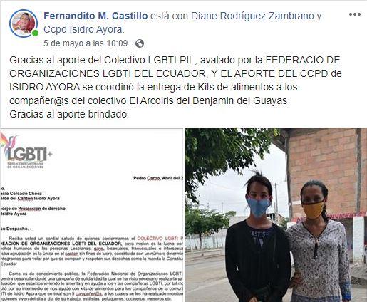 Colectivo PIL LGBT de Pedro Carbo, Isidro Ayora y Lomas de Sargentillo miembro de la Federación realiza gestiones para dar canastas de alimentos por Covid 19 en Ecuador 3