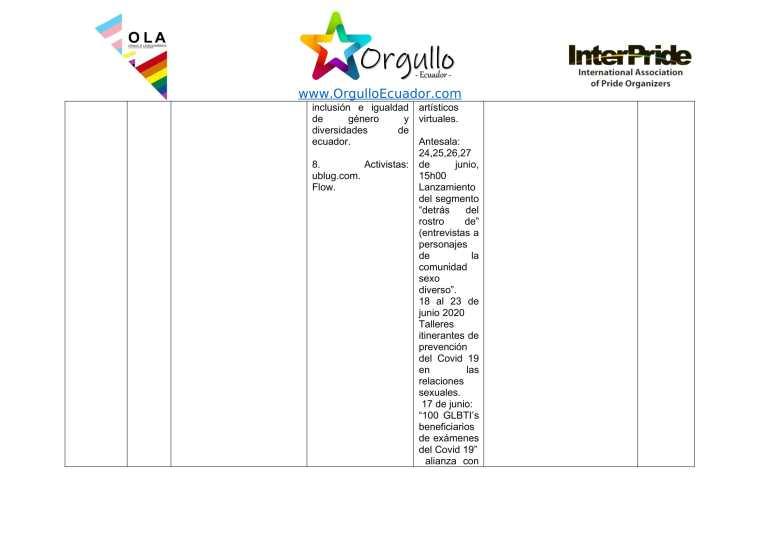 Comunicado - Agenda de la Alianza Nacional de Orgullos y actividades en el mes de junio En Ecuador - Orgullo Ecuador-5