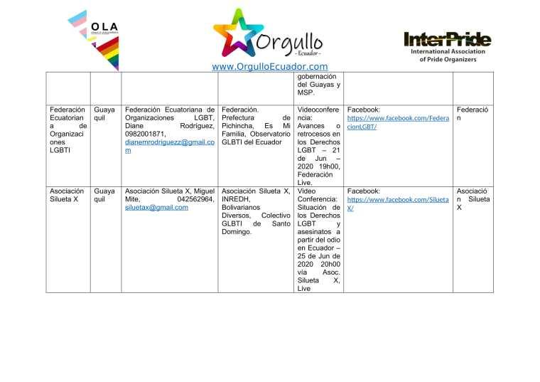 Comunicado - Agenda de la Alianza Nacional de Orgullos y actividades en el mes de junio En Ecuador - Orgullo Ecuador-6