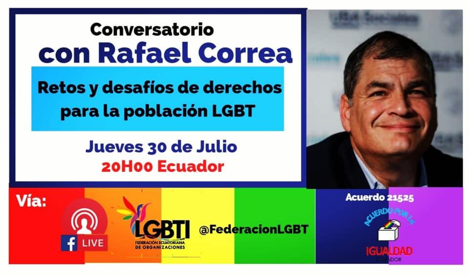 Población LGBT conversa con el ex presidente Econ. Rafael Correa Delgado - federación ecuatoriana de organizaciones LGBT y Asociación Silueta X